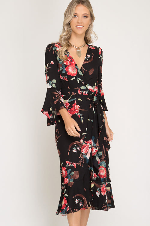 Woven Black Floral Midi Ruffled Wrap Dress