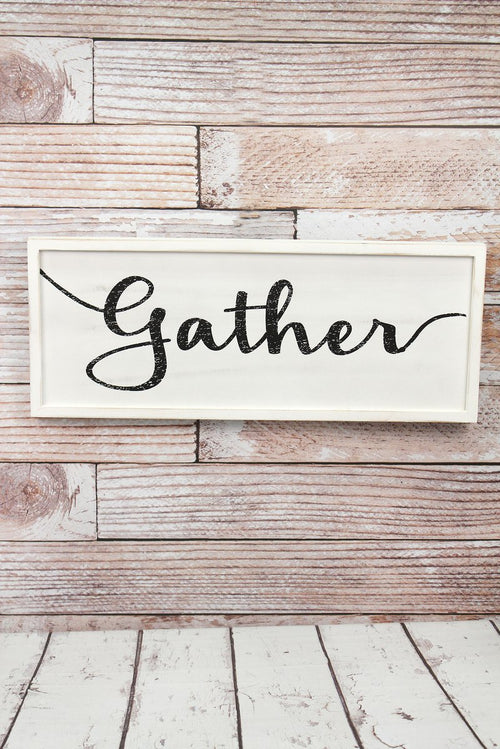 GATHER Framed Wood Wall Sign