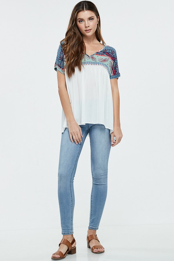 Paisley Patterned V Neck Top