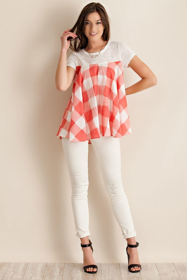 gingham, coral, white, top, shirt, ladies, misses, clothing, too qute boutique, www.tooquteboutique.com, small, medium, large