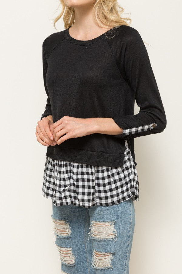 Black & White Gingham Contrast Top