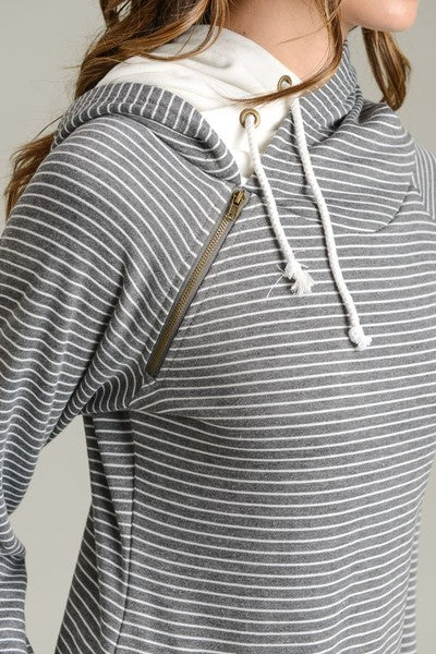Charcoal Striped Double Hoodie