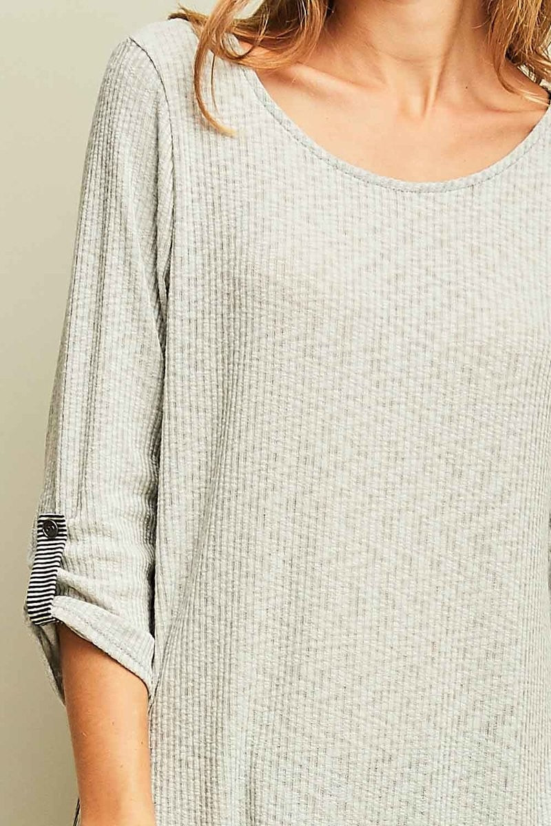 Gray Striped-Back Roll Sleeve Top
