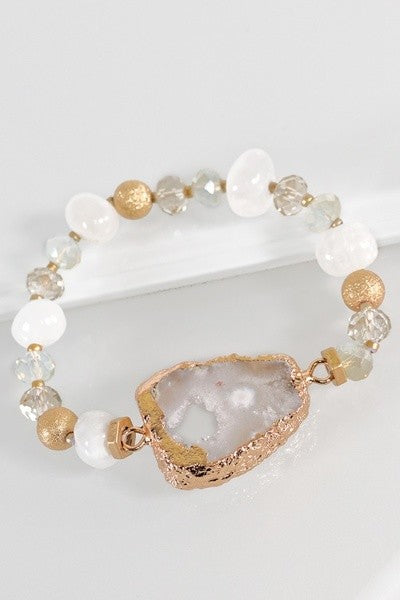 Neutral Stretch Druzy Stone Bracelet