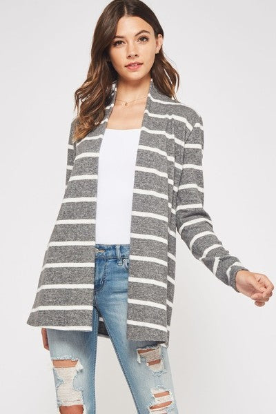 Gray Striped Brushed Cardi with Suede Elbow Patches