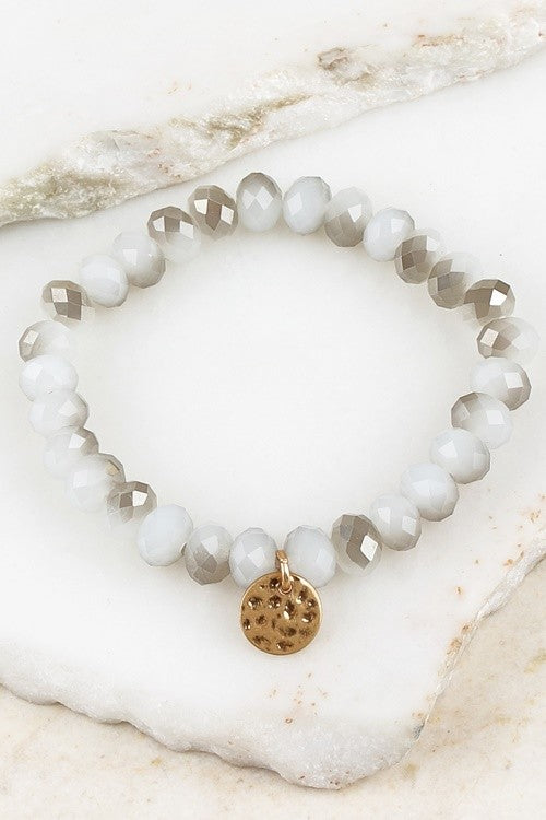 Crystal Beaded Bracelet with Gold Charm - Light Gray, Onyx, Champagne, Fuchsia or Blue-Gray