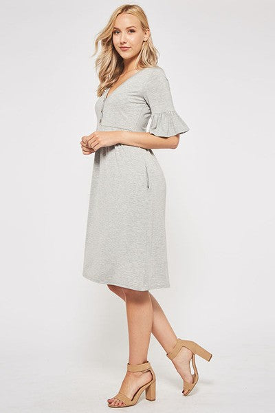 Gray Knit Midi Dress with Faux Buttons