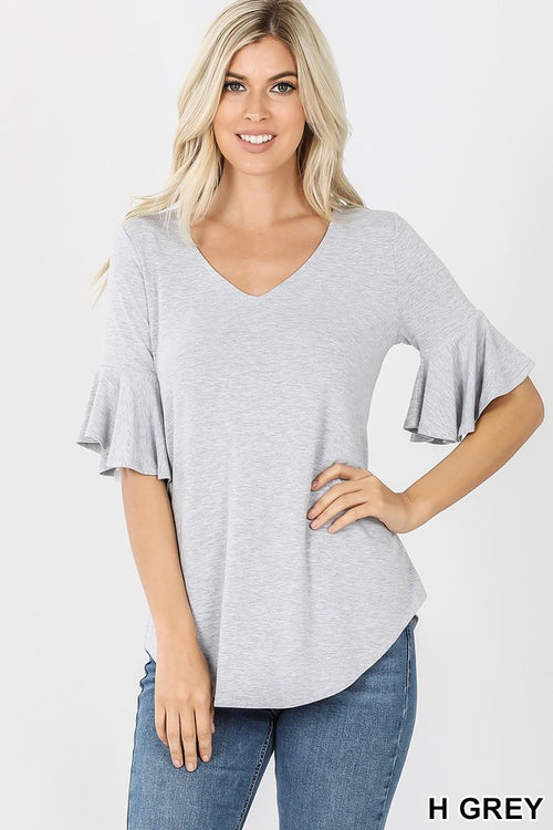 Heather Gray SOFT Knit Top with Flutter Sleeve