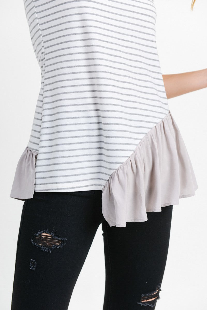 Asymmetrical Gray & White Striped Sleeveless Top