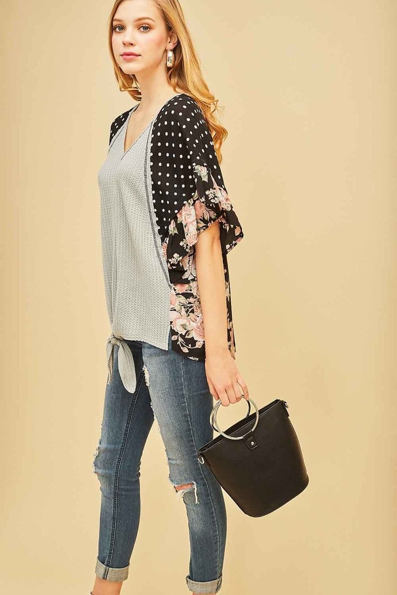 Gorgeous Gray Ruffle Sleeve Tie Top