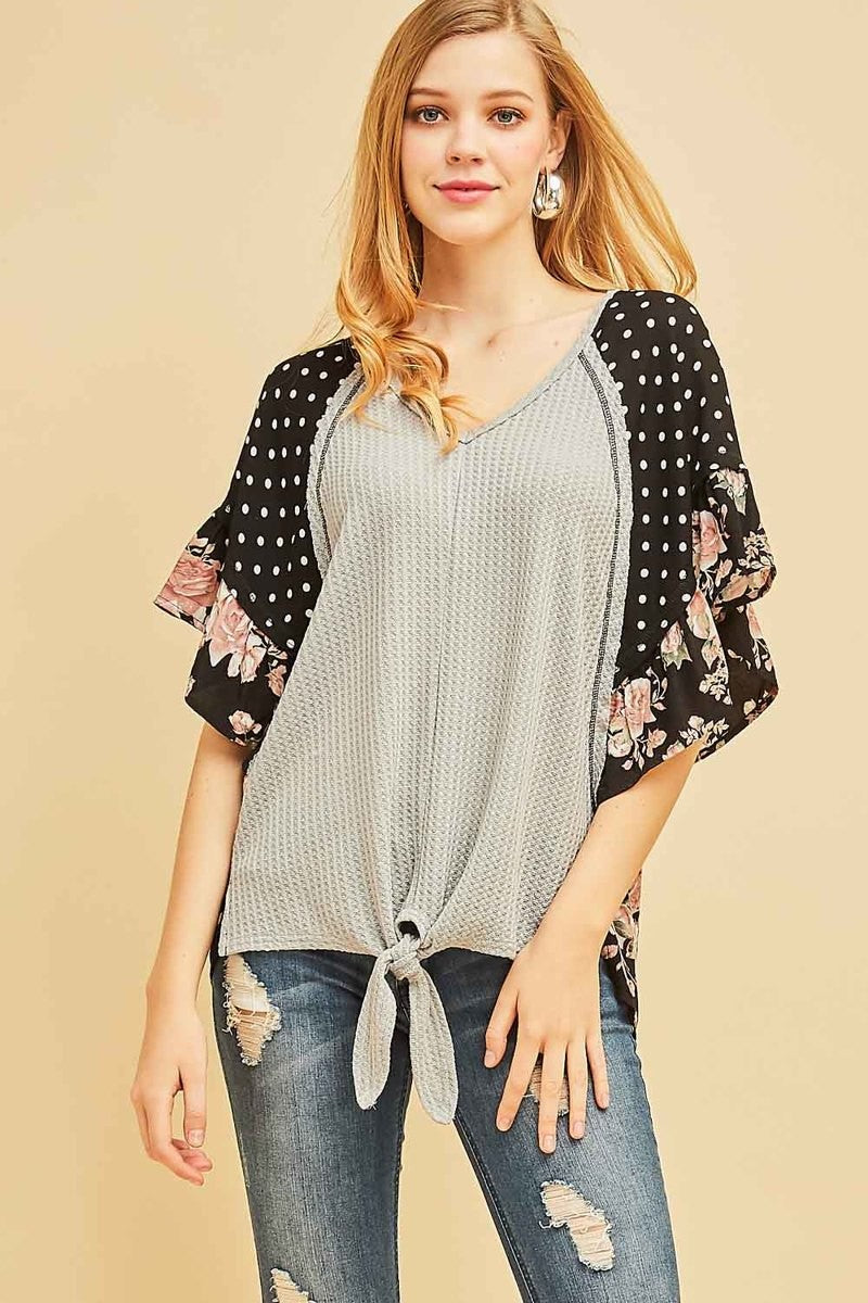 gray, black, polka dots, floral top, flutter sleeve, too qute boutique, www.tooquteboutique.com, ladies fashion, spring 2019