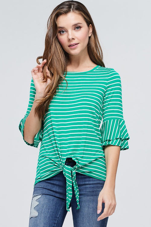 Green Striped Ruffle Sleeve Top