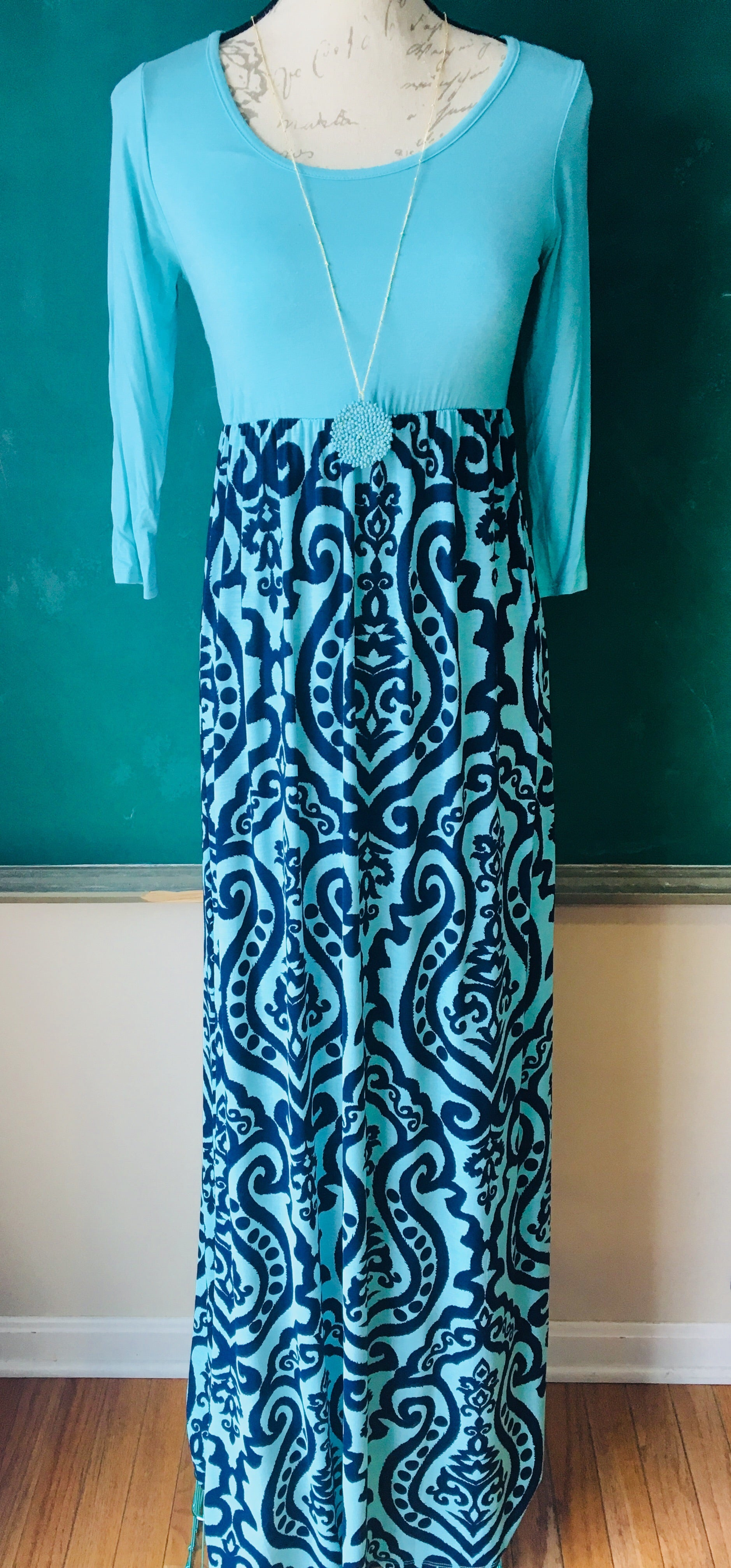 navy, turquoise blue, damask, print, dress, knit, soft, comfy, bellamie, spring, summer, easter, www.tooquteboutique.com, too qute boutique