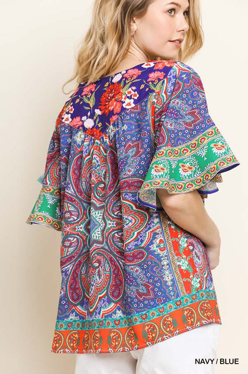 Bright Scarf Print Short Sleeve Square Neck Top