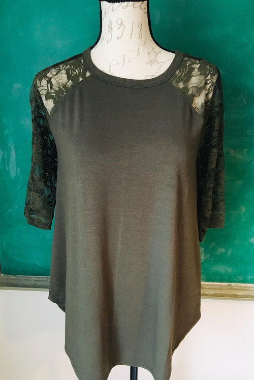 Lace Half Sleeve & Knit Army Green Top