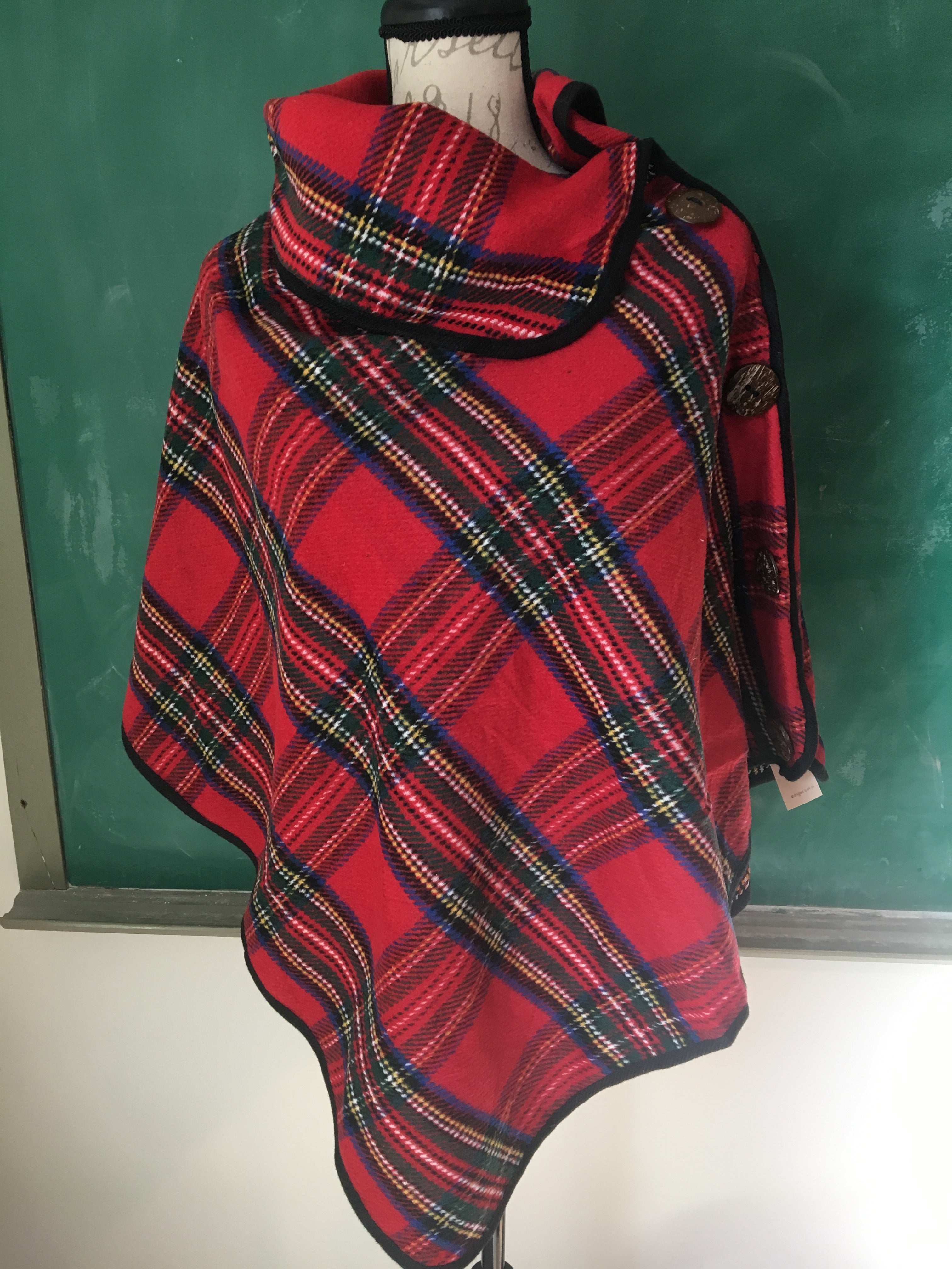 On the Button Tartan Plaid Poncho - ONE SIZE