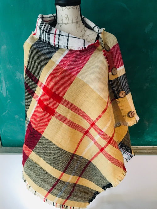 Cozy Autumn Button Poncho (REVERSIBLE!)