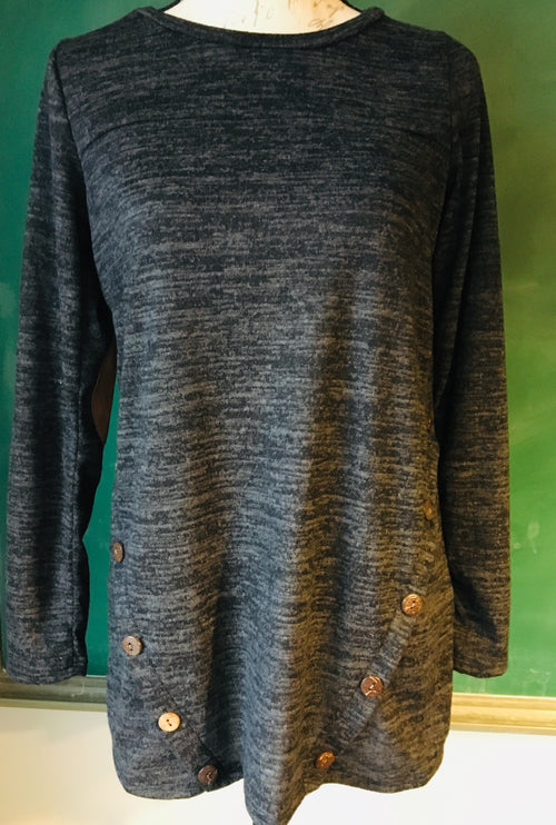 Black/Charcoal Gray Hacci Top with Elbow Patches