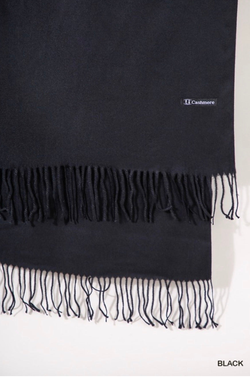 Charcoal Cashmere Scarf with Fringe