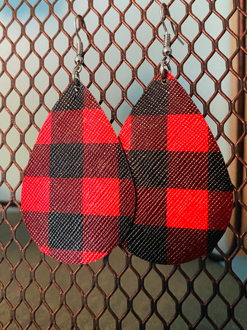 Red & Black Buffalo Earrings