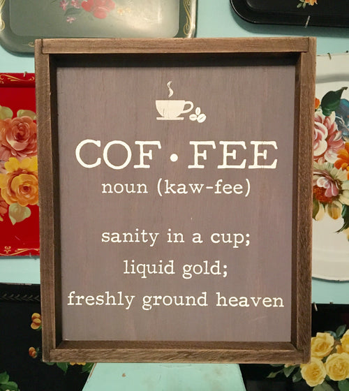 Coffee Definition Wood Wall Sign
