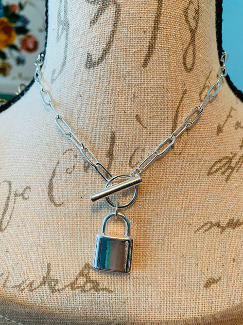 Padlock & Toggle Silvertone Necklace & Earring Set