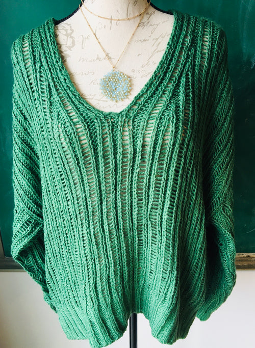 Oversized Loopy Green Sweater