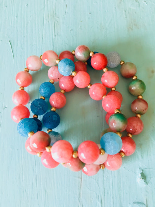 Watermelon & Blue Medley Stretch Bracelet