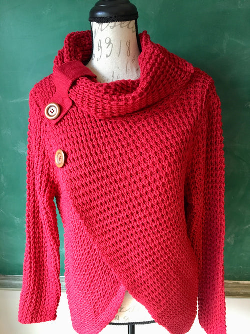 Red Faux Wrap Sweater