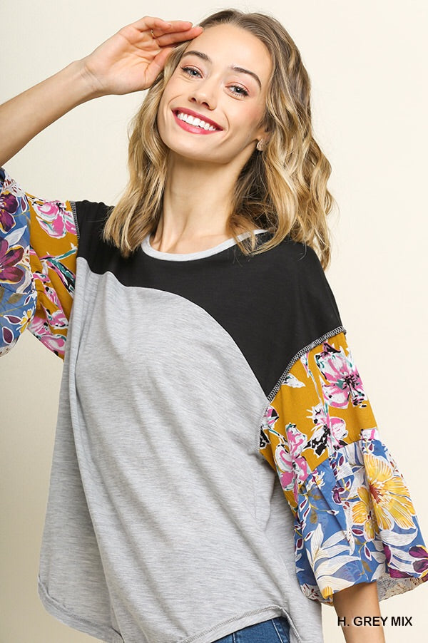 Heather Color Block Floral Sleeved Top