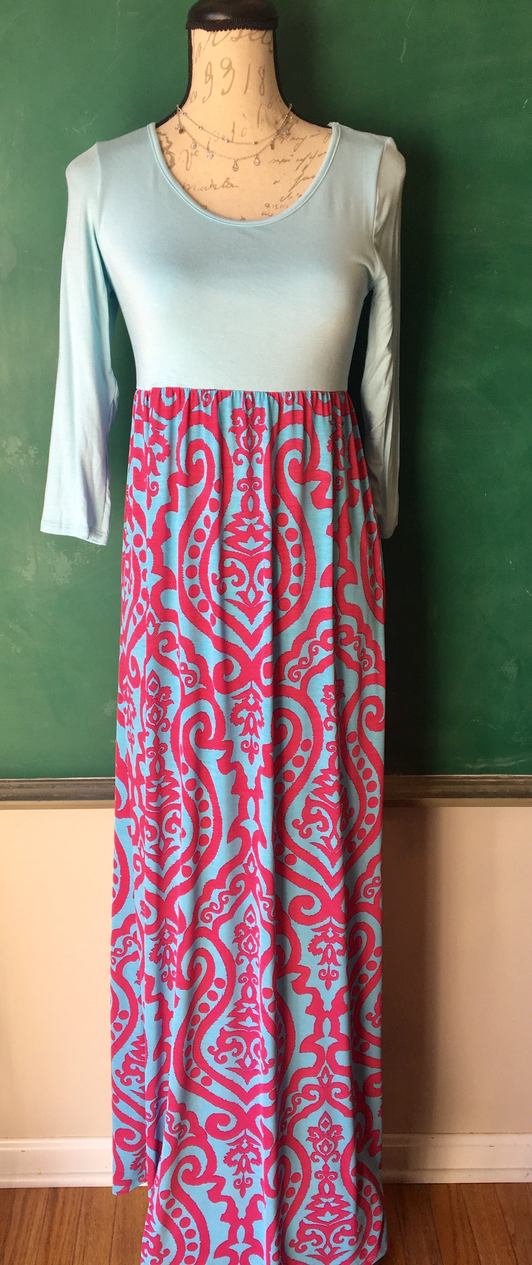 Damask Pink and Blue Maxi Dress