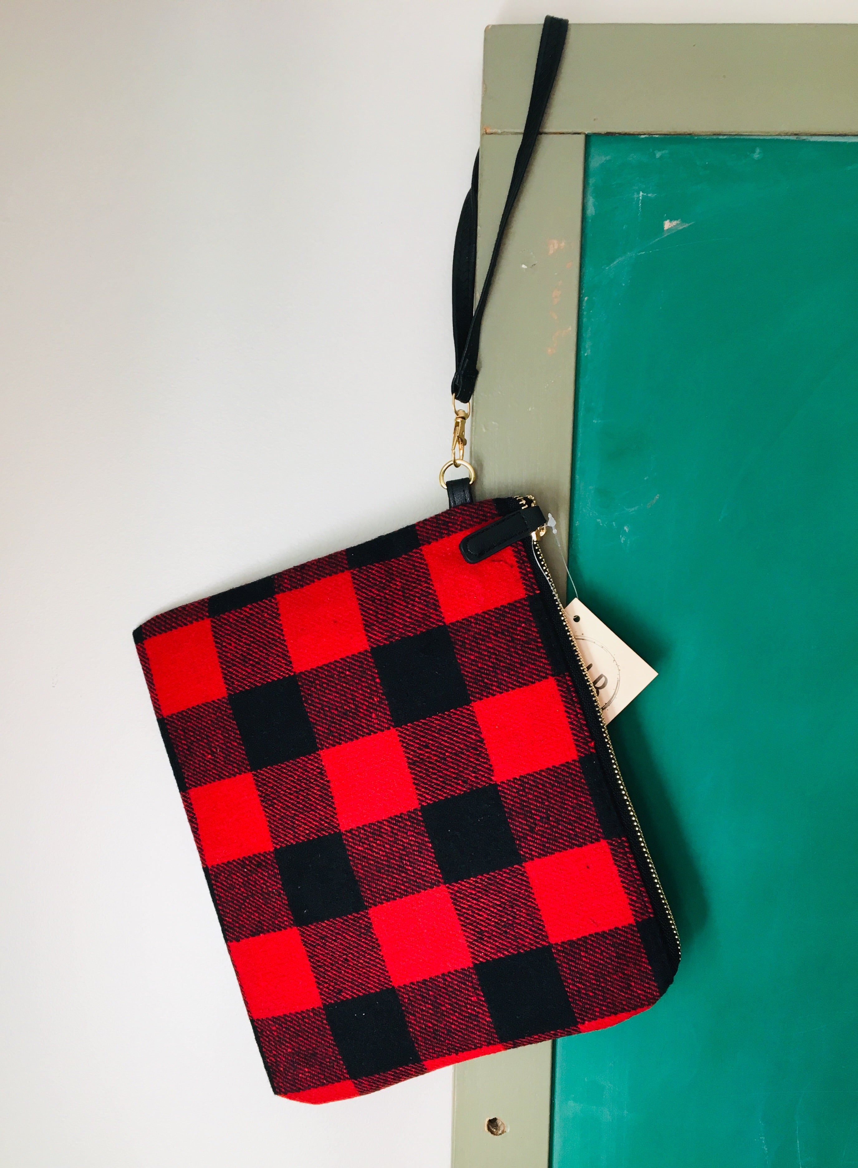 Buffalo Check Wristlet Clutch