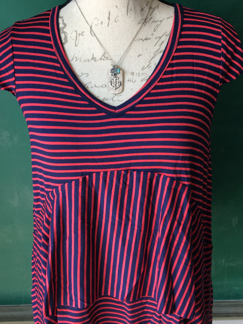 GRACE & LACE Cheyenne Navy/Coral Striped Tee