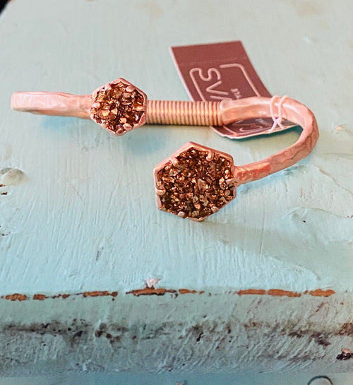 Rose Gold Tone Asymmetrical Chipped Glass Bracelet