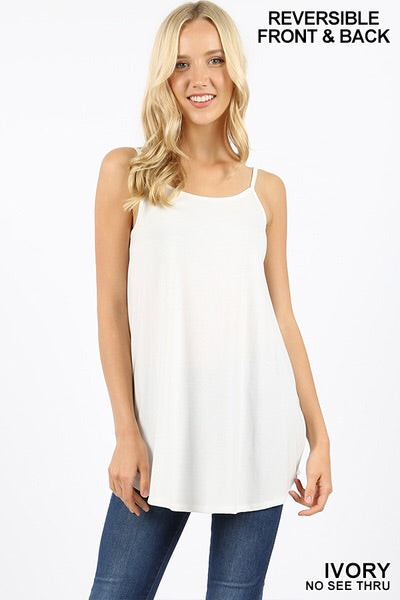 Reversible Ivory V-Neck/Scoop Neck Tank