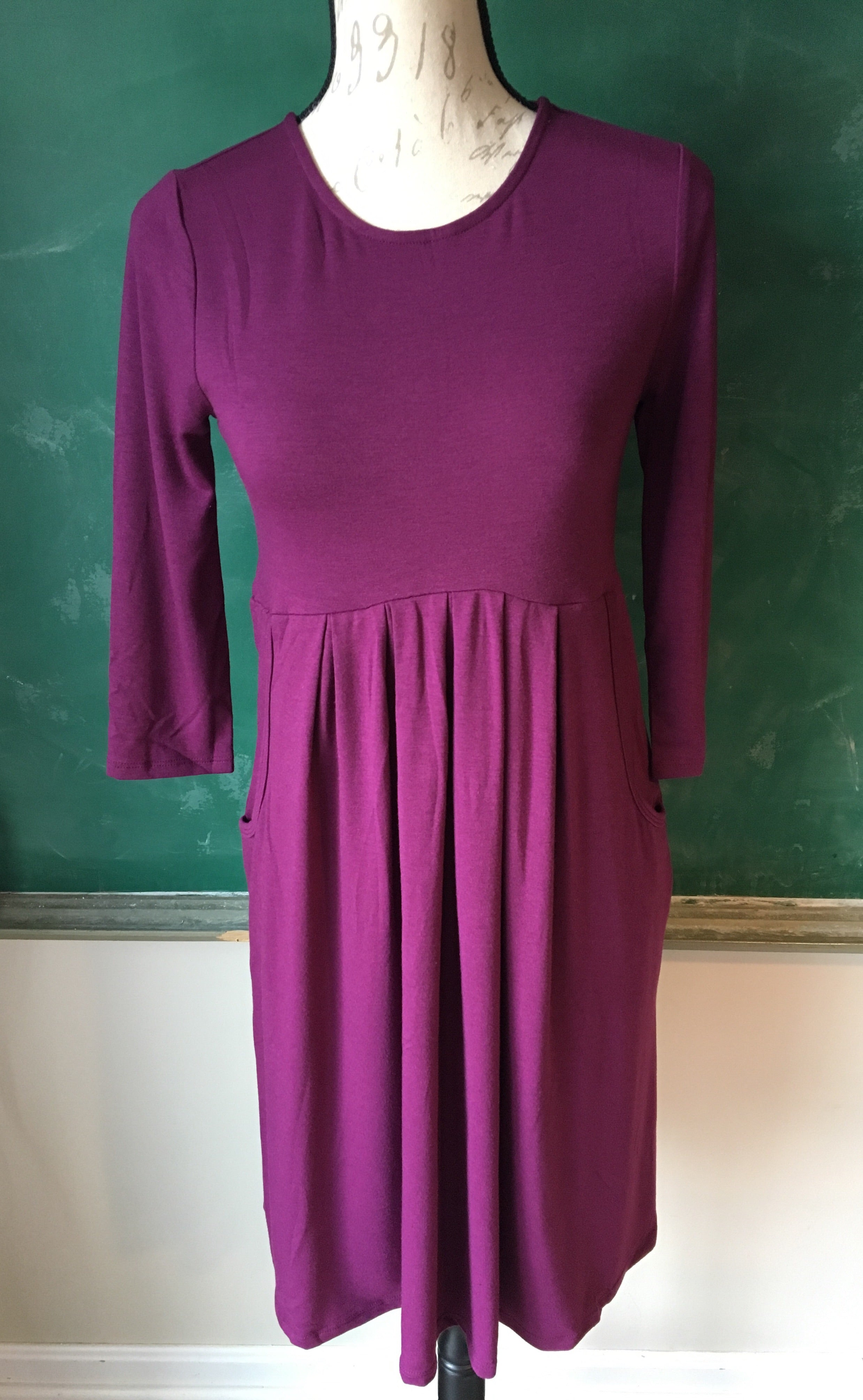 Plum Pleated Knit Midi Dress