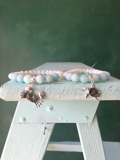 Sea Turtle or Crab Blue Stretch Bracelet