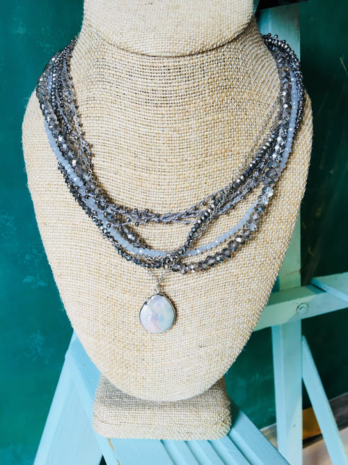 Layered Faceted Glass Bead Teardrop Necklace