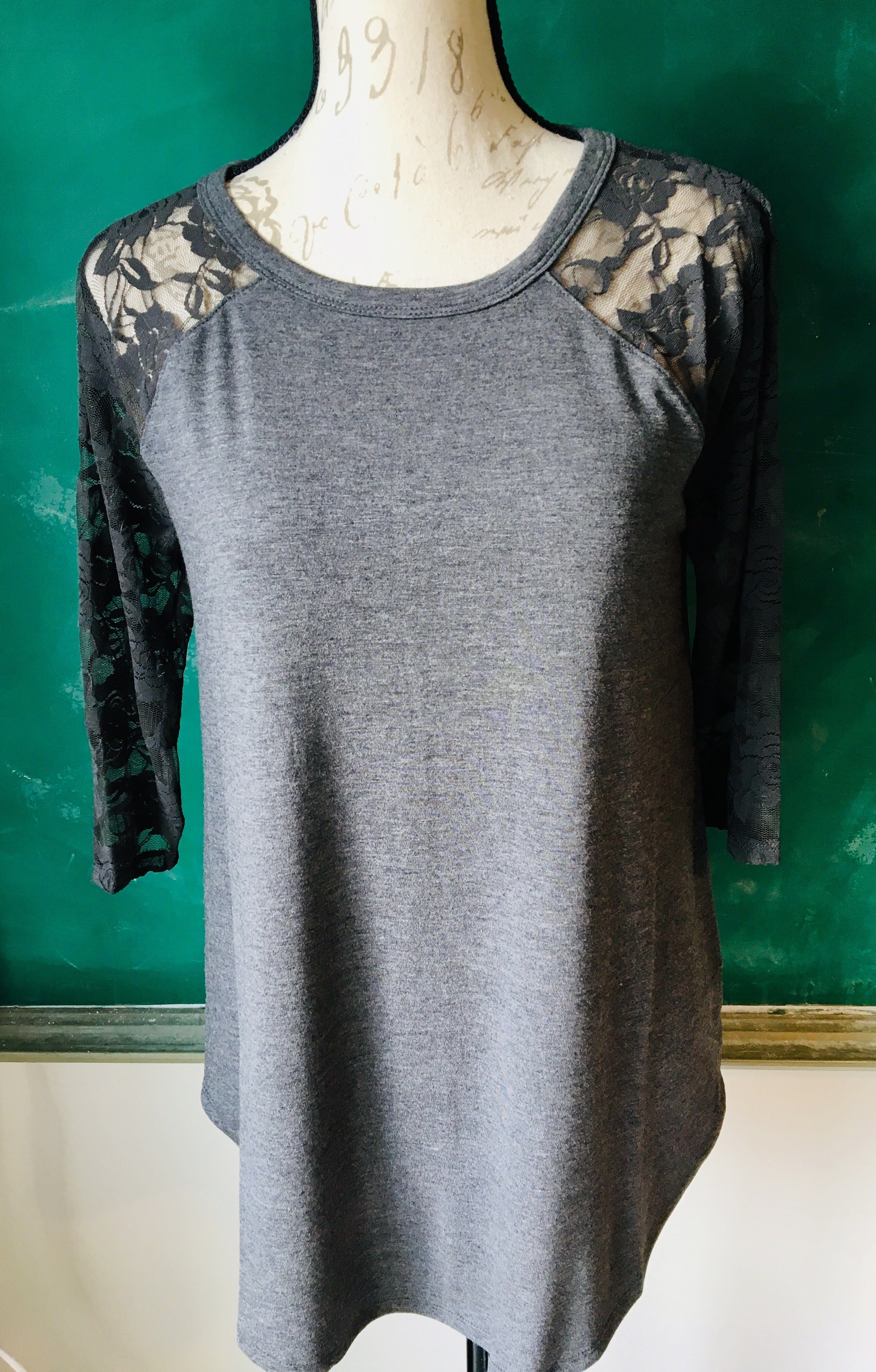 Lace Half Sleeve & Knit Charcoal Top