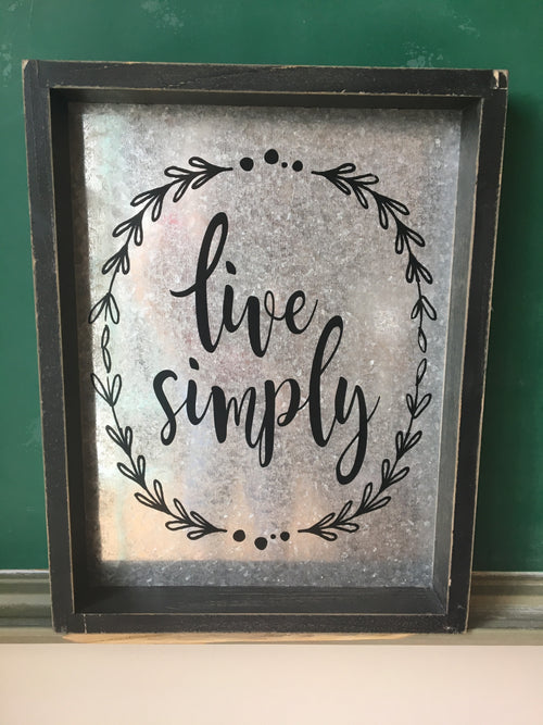 Live Simply Wood Framed Metal Sign