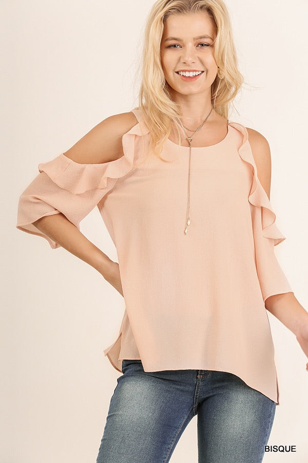 Bisque Blouse with Ruffle Details
