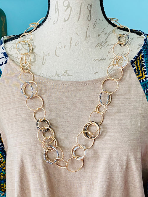 Textured Smoke Glass Bead & Gold Tone Circle Link Necklace