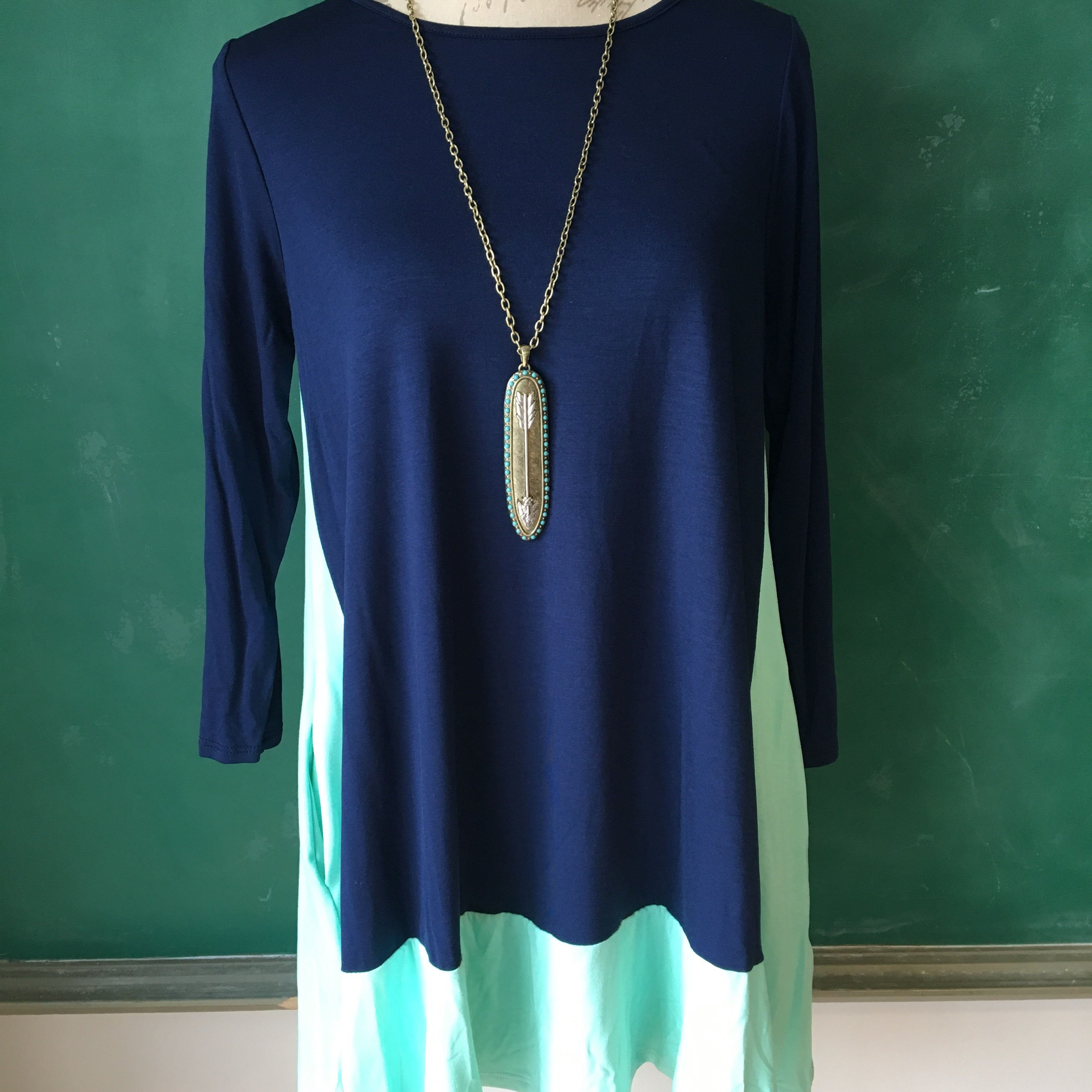 Minty Navy Tunic