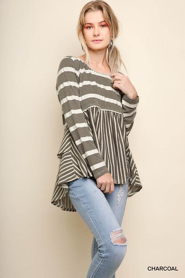 Umgee Taupey Gray Mixed Stripe Top