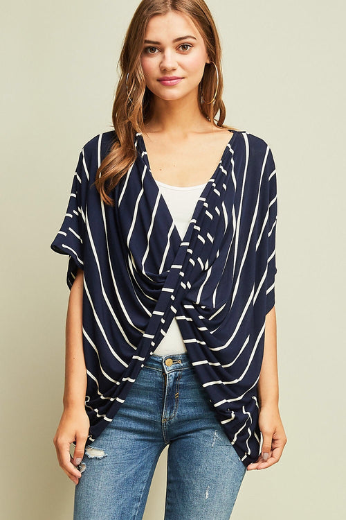 Navy Crisscross Striped Top