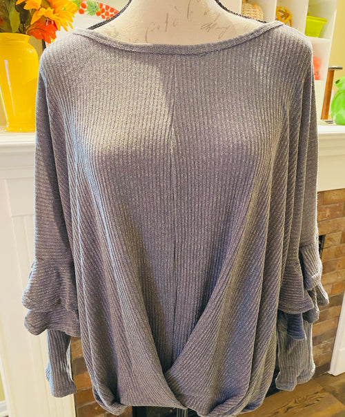 Gray Ruffled Sleeve Cross Front Top (read description for size info!)