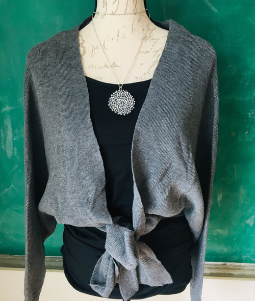 Charcoal Bow Tie Cardi