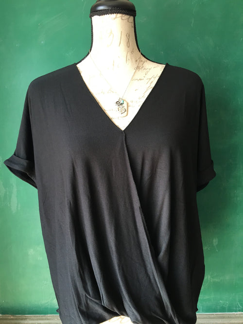 Grace & Lace Black Crepe Crossover Top