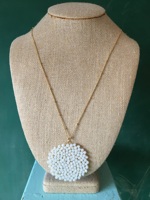 White Glass Bead Swirl Pattern Necklace