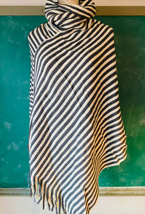 ONE SIZE Charcoal & Ivory Striped Turtleneck Poncho